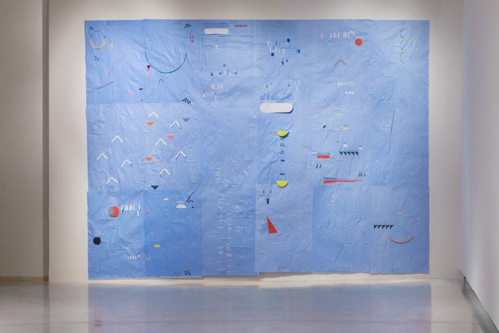 E' già mattino , 2016, Blueback posters, h 60 x 420 w   Altri Tempi, Altri Miti , curated by Cristiana Perrella, Installation View at 16a Quadriennale d'Arte, Rome
