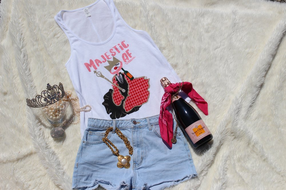 Majestic AF Tank Tiara Chanel and Veuve Collage Flatlay On White.jpg