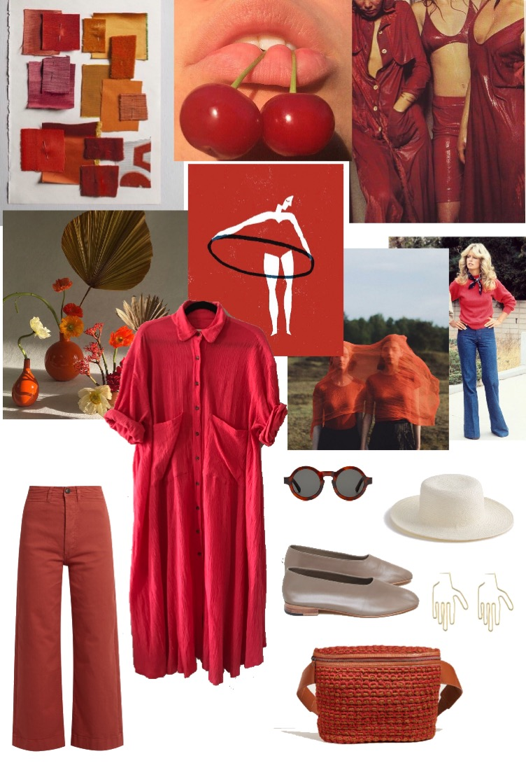 A custom mood board made for Maya Keaneto bring in sense of vigor, strength and motivation while she embarks on a new chapter of her life and a big move across the country.  Dress:  Sunjia Link , Pants:  Madewell, Fanny Pack:  Rachel   Comey , Earrings:  Young Frankk, Shoes:  Martinianos, Sunglasses:  Wyeth and Hat:  Brookes Boswell