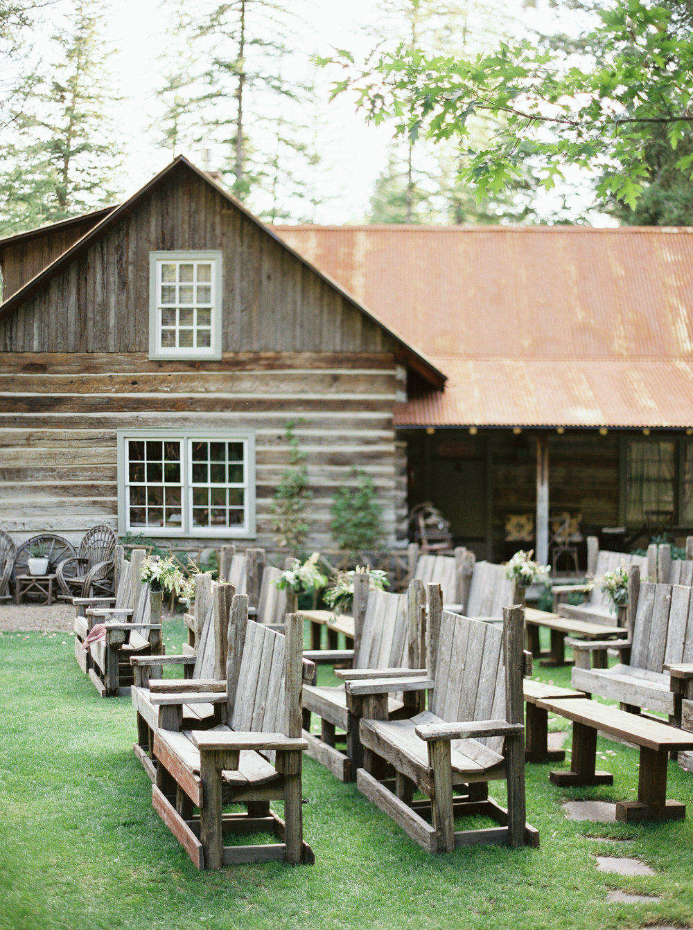 Rustic Montana Wedding Ceremony Pews at the Weatherwood Homestead