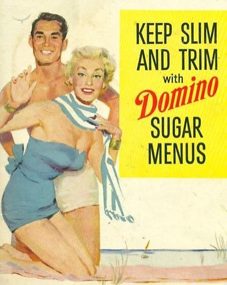 The Domino Sugar Diet is such a great relic of American history. Domino Sugar would promise that sugar was the key to weight loss and deliciousness with a 1200 calorie diet that included coffee with Domino Sugar at every meal. It's no wonder that our country's dieting mentality is such a circus now.
