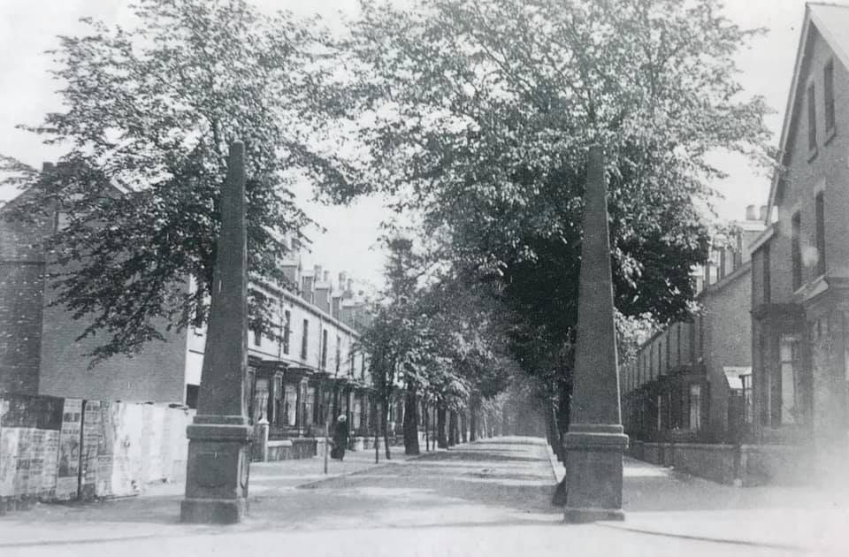 Obelisks at the end of Cemetery Avenue. C 1926.