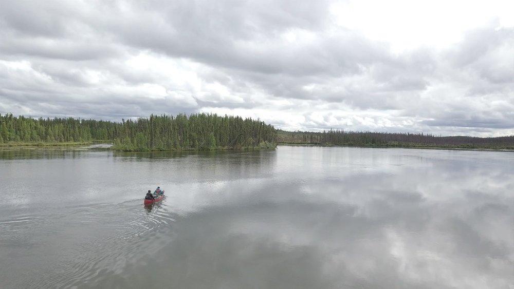 Freddie Throassie and his daughter Michelle Throassie of Black Lake, Saskatchewan, on a weeklong canoe moose hunt.