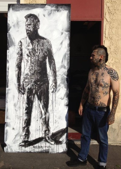 Figurative painting of tattoo artist Luis