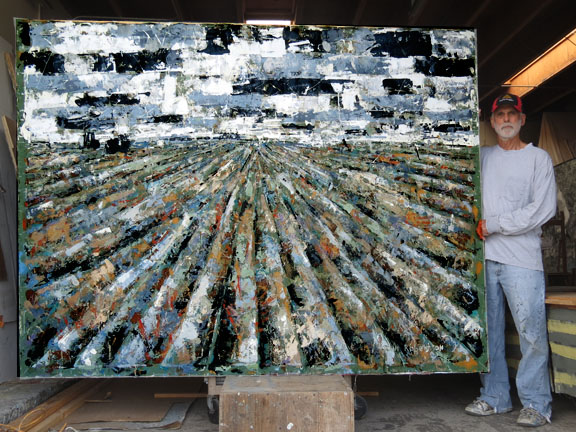 Farm Fields painting near Santa Paula, Ca 6 feet by 8 feet, acrylic on unstreetched canvas