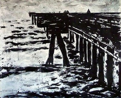 Venice Fishing Pier, Venice, Ca 4 feet by 5 feet, axcrylic on unstretched canvas