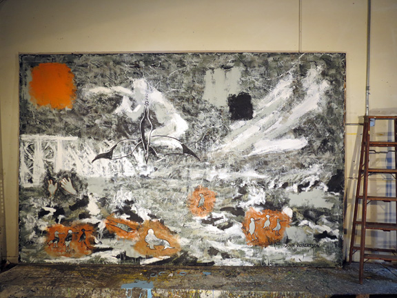 Rime of the Ancient Mariner seascape painting of the poem. 8 feet by 12 feet, axcrylic on unstretched canvas