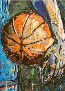 art basketball, sports images, basketball player, sports artist John Robertson,