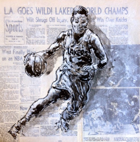 Basketball Painting LA Lakers Dribbling Basketball