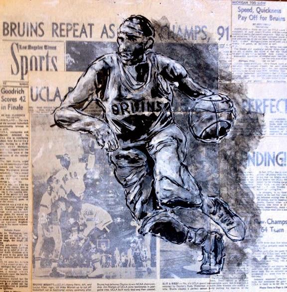 UCLA Bruins Basketball player dribbling the basketball arft