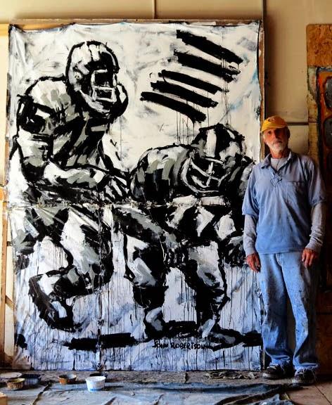 Football painting tackle runner witdh  ball art.jpg