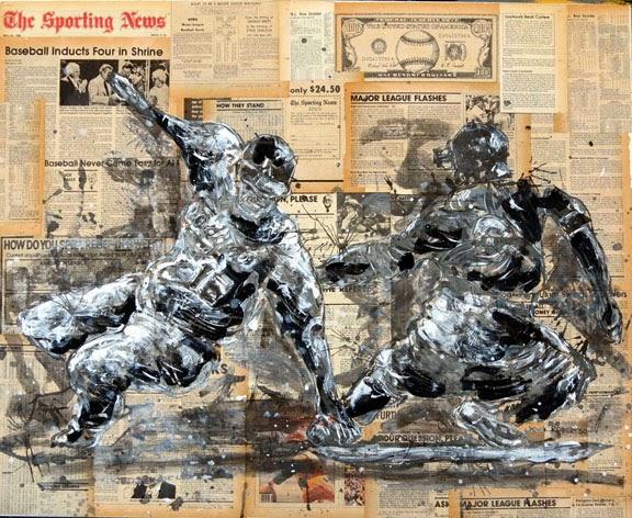Baseball painting Andre Ethier MLB outfielder for Los Angeles Dodgers art.jpg
