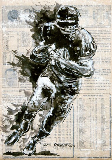 Football painting Gail Sayers running back Chicago Bears art.jpg