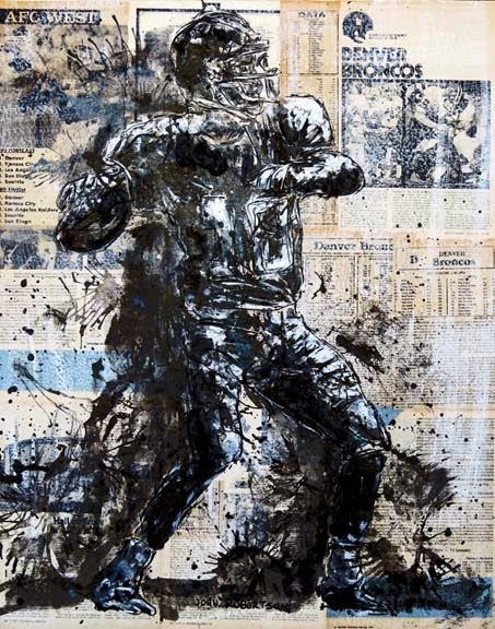 Football painting Payton Manning Quarterback Denver Broncos art.jpg