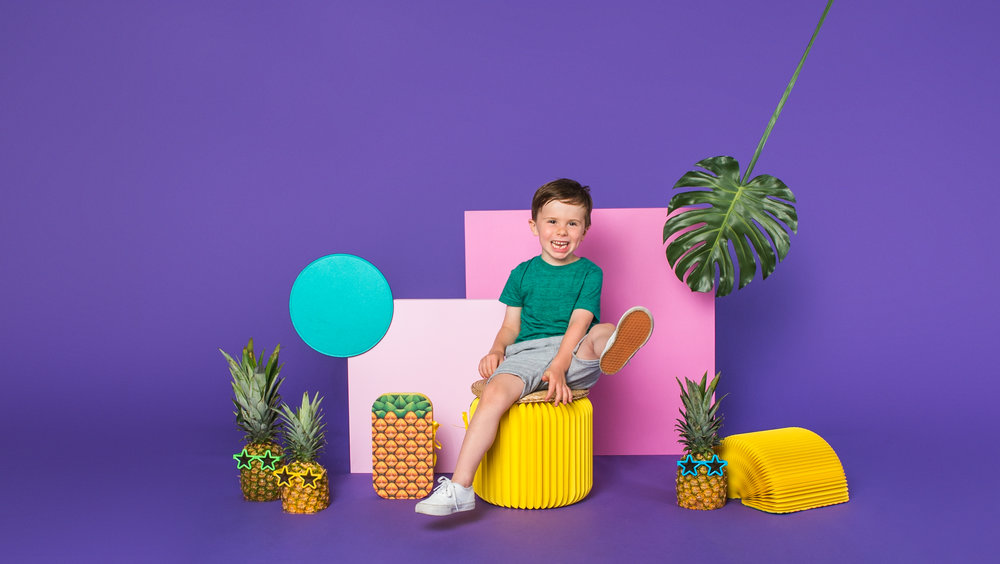 ren ro folding toddler chair pineapple print