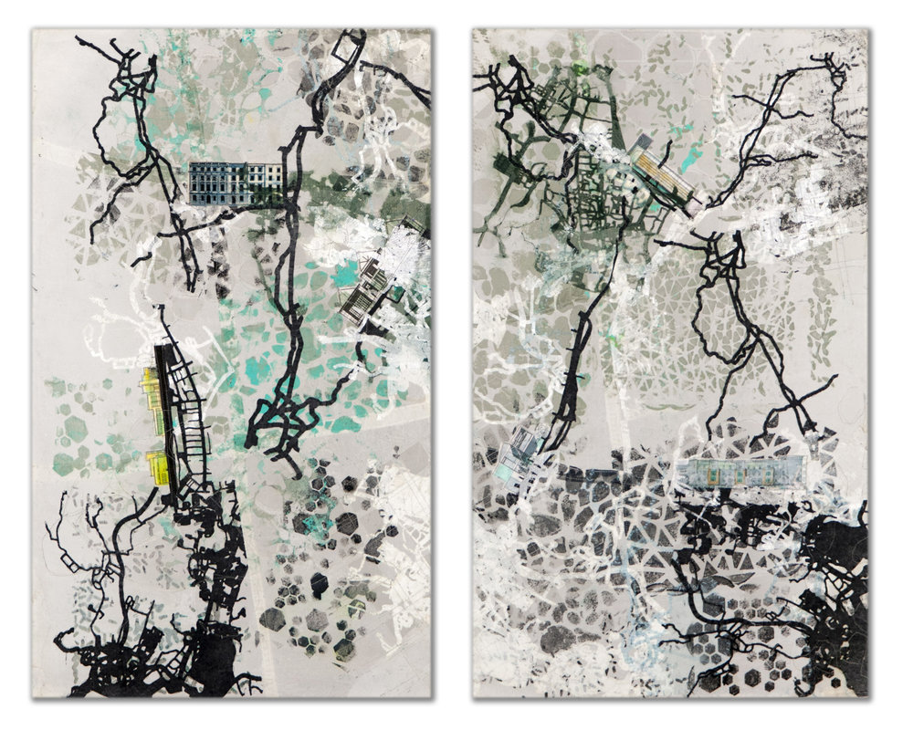 "Mapped Abstractions – A Diptych   Approx. 30"" x 25""  2018"