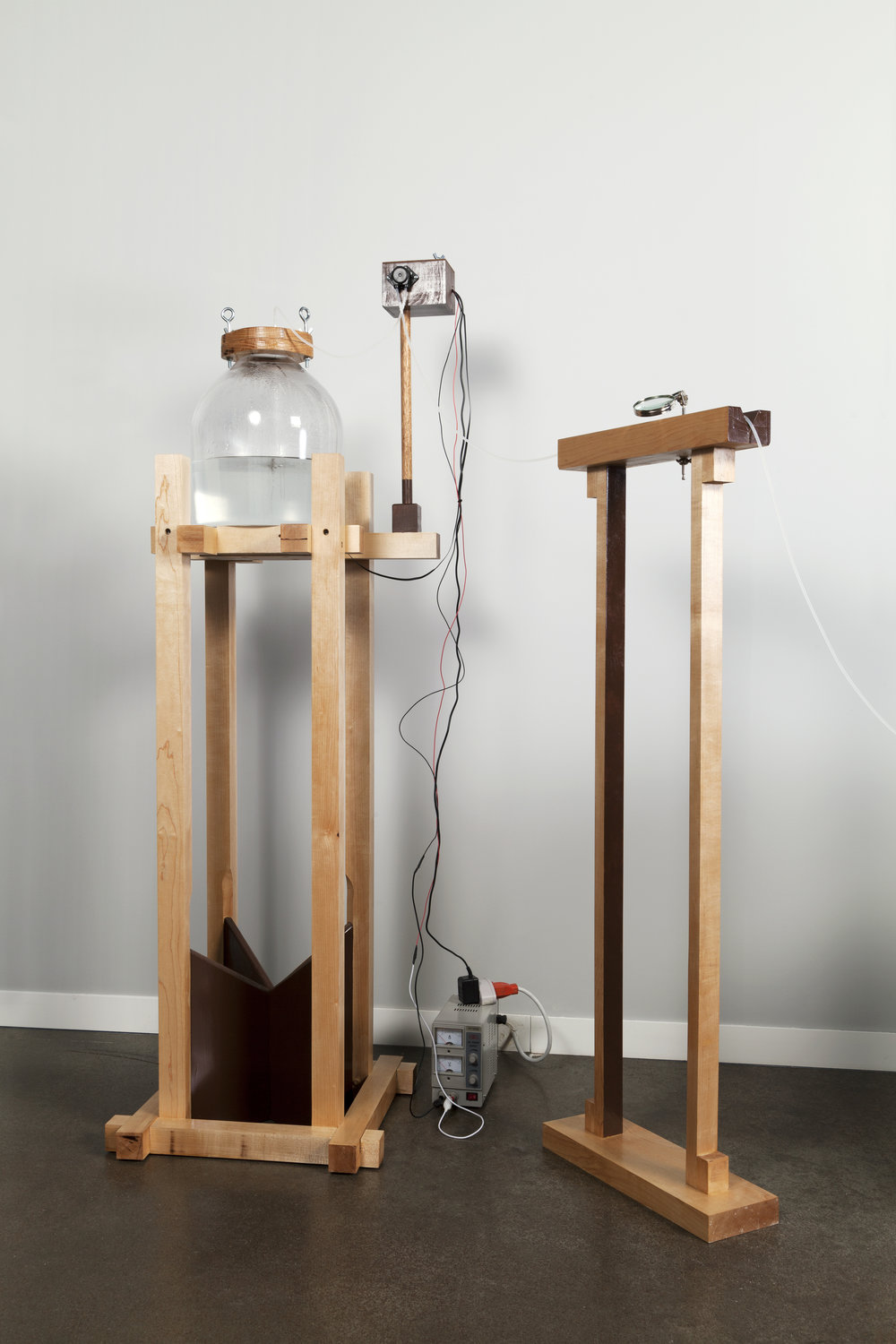 Installation for Tear Set (2015)  Wood, glass, electronics,