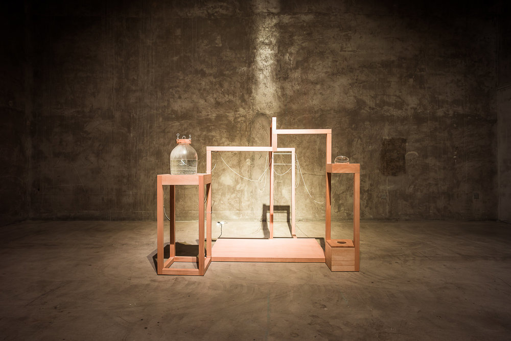 Installation for Tear Set, Second edition (2015)  Wood, electronics, glass, rubber tubes, metal fastener