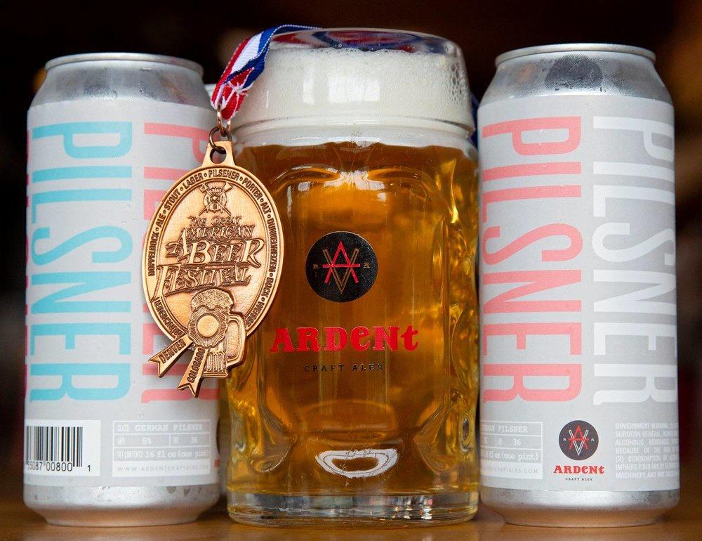 - Ardent has so many great brews to try, but first up has to be their Pilsner. Why? Because it won a bronze medal at the Great American Beer Festival. That's why.