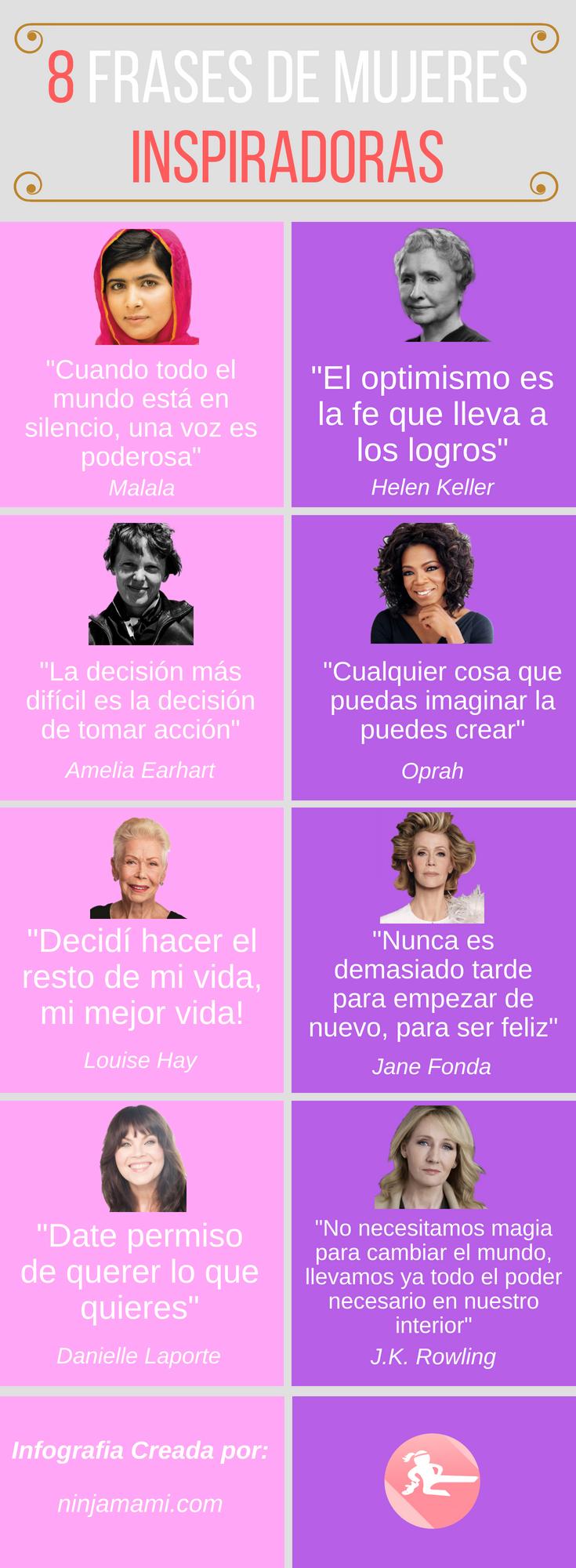 8 frases positivas de mujeres inspiradoras
