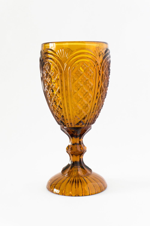 Amber Carousel Goblet  11 oz