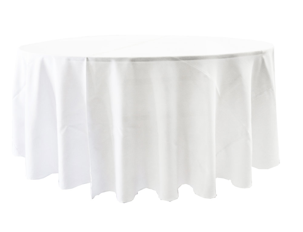 "108"" Tablecloth On 60"" Round Table  Falls To The Lap"
