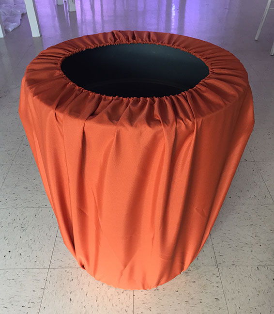 30 Gal Trash Can w/  Burnt Orange Cover  $10.00