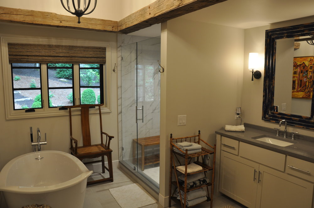 fully reconfigured & renovated master bath