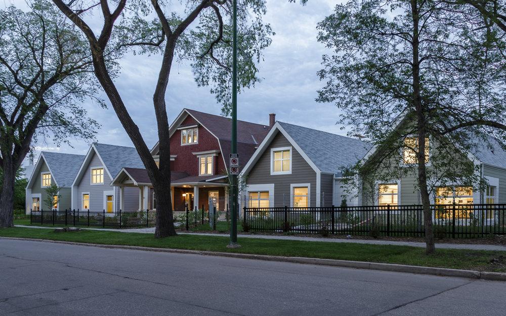 Great West Life Daycare, exterior photo of back at dusk / Photo:  Lindsay Reid