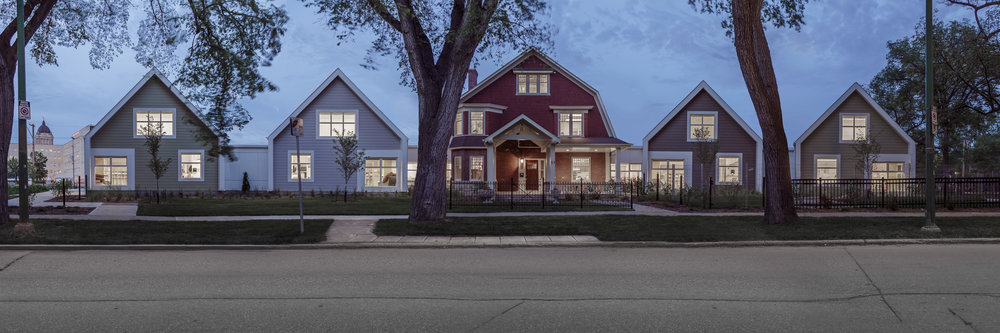 Great West Life Daycare, exterior photo of front elevation at dusk / Photo:  Lindsay Reid
