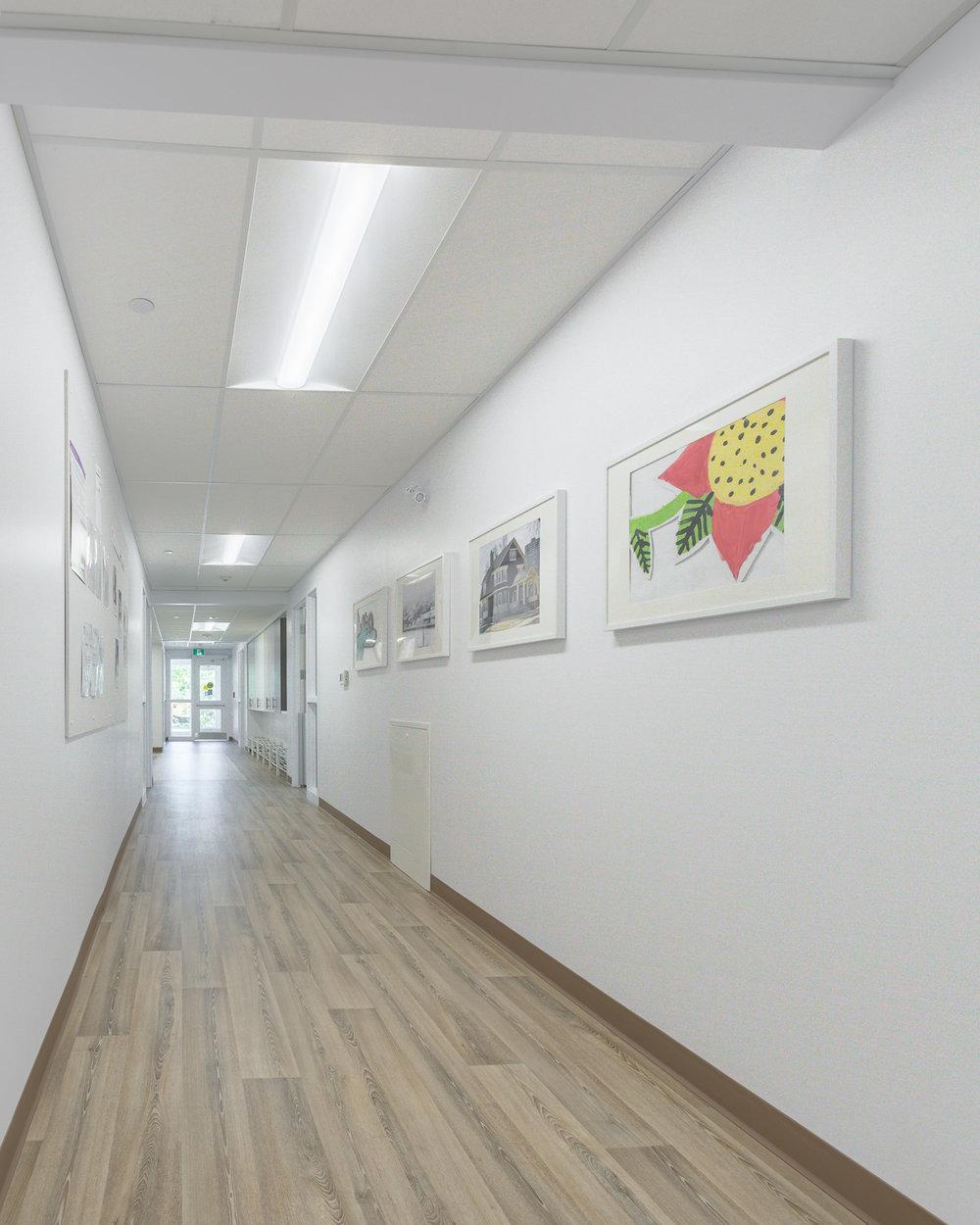 Great West Life Daycare, interior photo of hallway / Photo:  Lindsay Reid