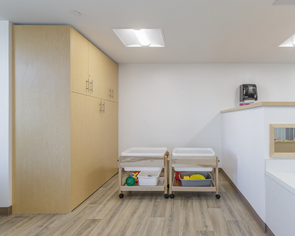 Great West Life Daycare, interior photo of detail in pre-school room / Photo:  Lindsay Reid
