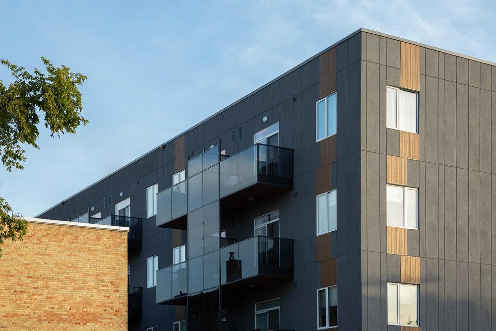 24Seven Condominiums, exterior detail photo of the building siding / Photo:  Lindsay Reid