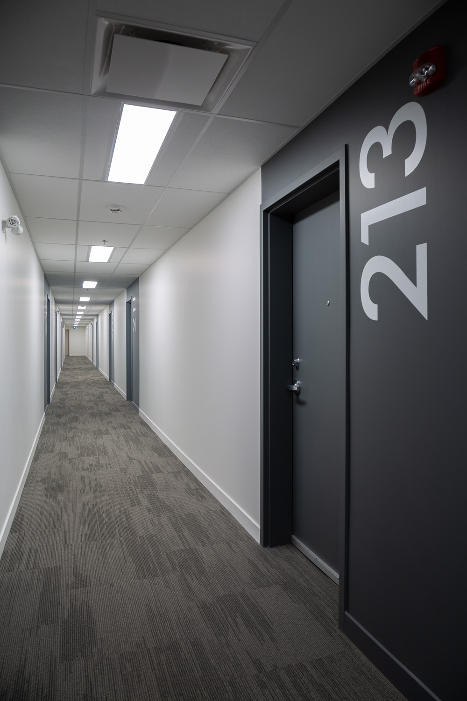 24Seven Condominiums, interior photo of a hallway / Photo:  Lindsay Reid