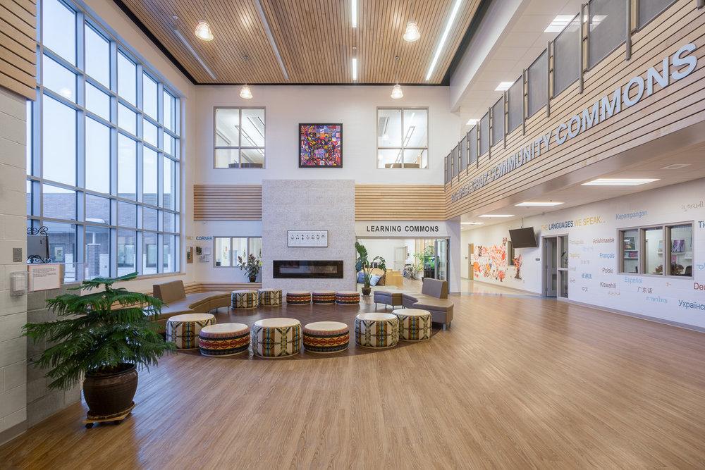Amber Trails Community School, interior photo of empty main lobby / Photo:  Lindsay Reid
