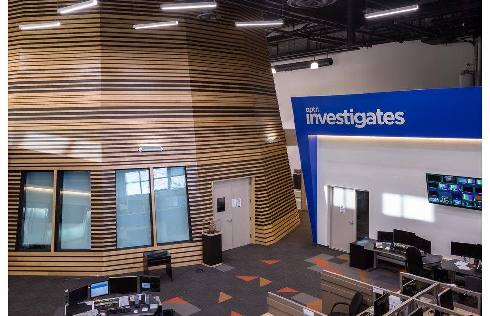 APTN Building, interior photo of office and studio drum / Photo:  Lindsay Reid