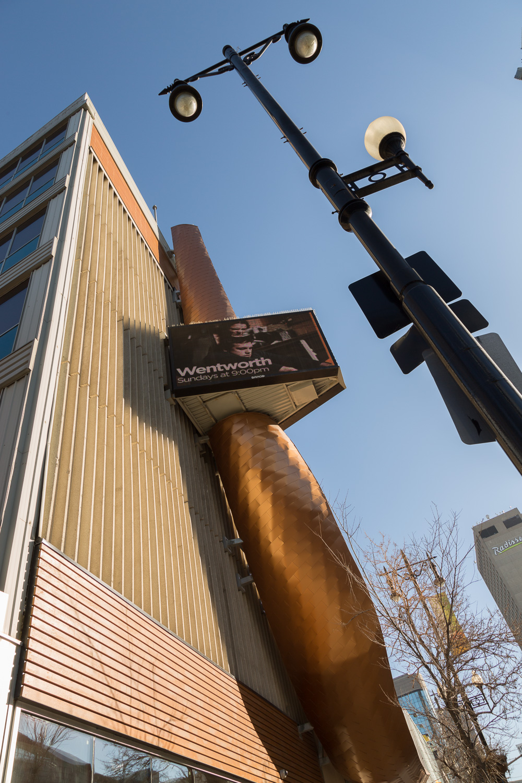 APTN Building, exterior photo of detail of sign overhang / Photo:  Lindsay Reid