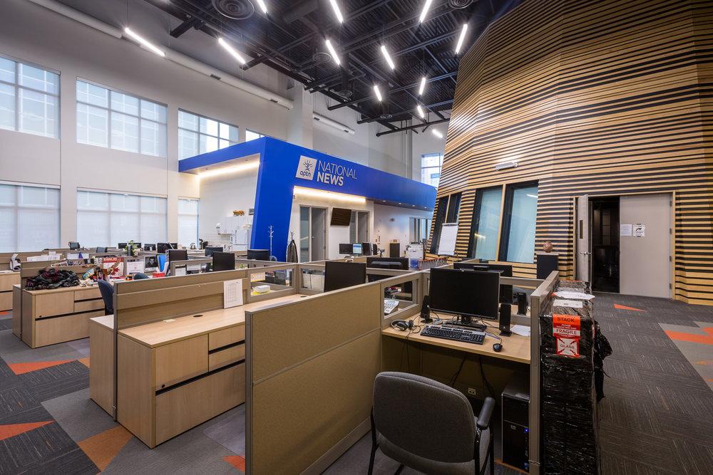APTN Building, interior photo of studio drum and office space / Photo:  Lindsay Reid