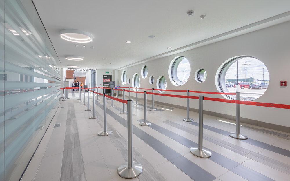 Brandon Municipal Airport, interior photo of security line / Photo:  Lindsay Reid