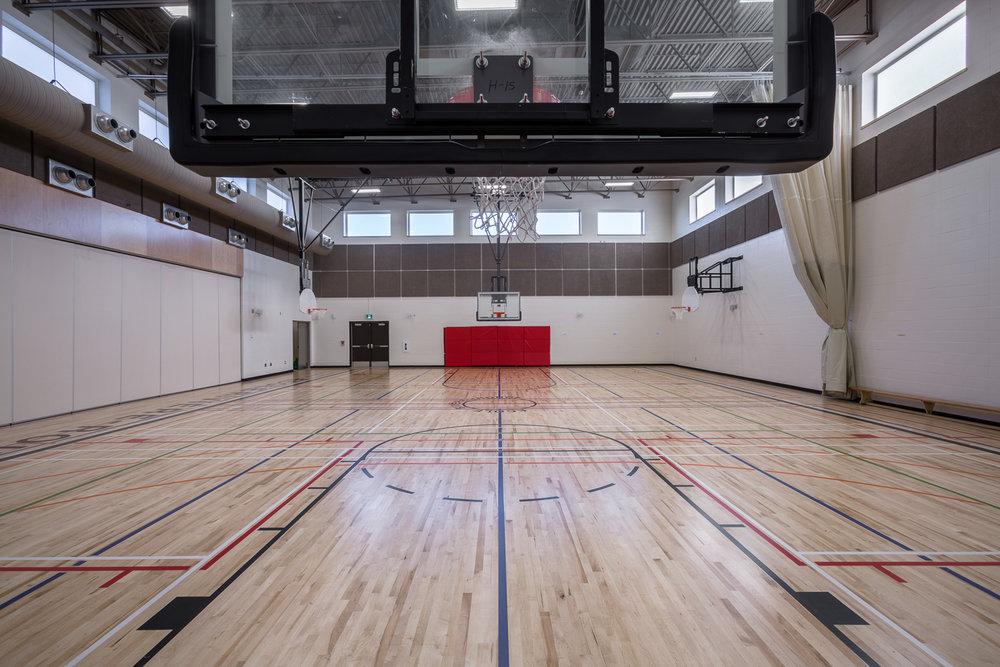 Ecole Rivière Rouge Elementary, interior photo of gymnasium / Photo:  Lindsay Reid