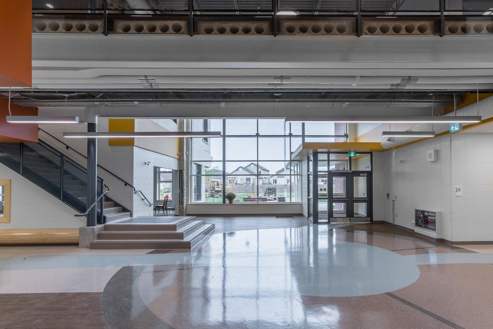 Ecole Rivière Rouge Elementary, interior photo of front lobby / Photo:  Lindsay Reid