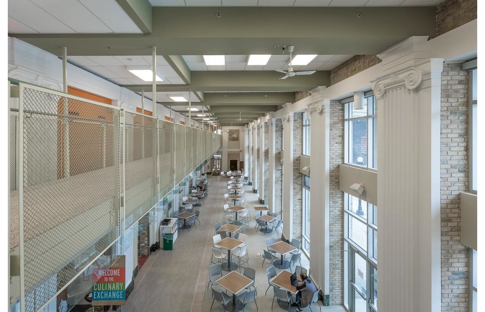 Red River College Culinary Arts & Student Housing, interior photo of atrium from second floor / Photo:  Lindsay Reid