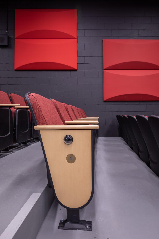 Seven Oaks Performing Arts Centre, interior detail photo of the theatre seats / Photo:  Lindsay Reid