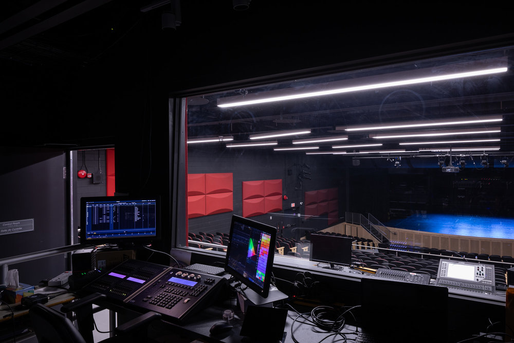 Seven Oaks Performing Arts Centre, interior photo of the theatre sound booth / Photo:  Lindsay Reid