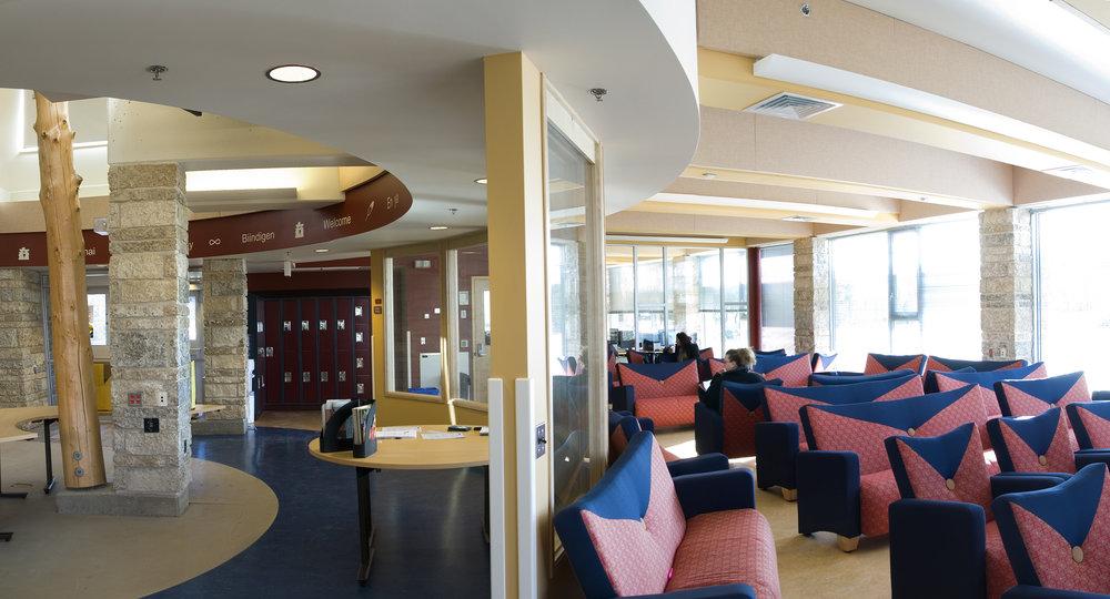 Indigenous Student Centre, interior photo of common area / Photo: Bryan Scott