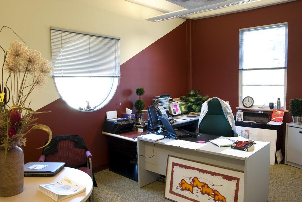 Indigenous Student Centre, interior photo of office / Photo: Bryan Scott