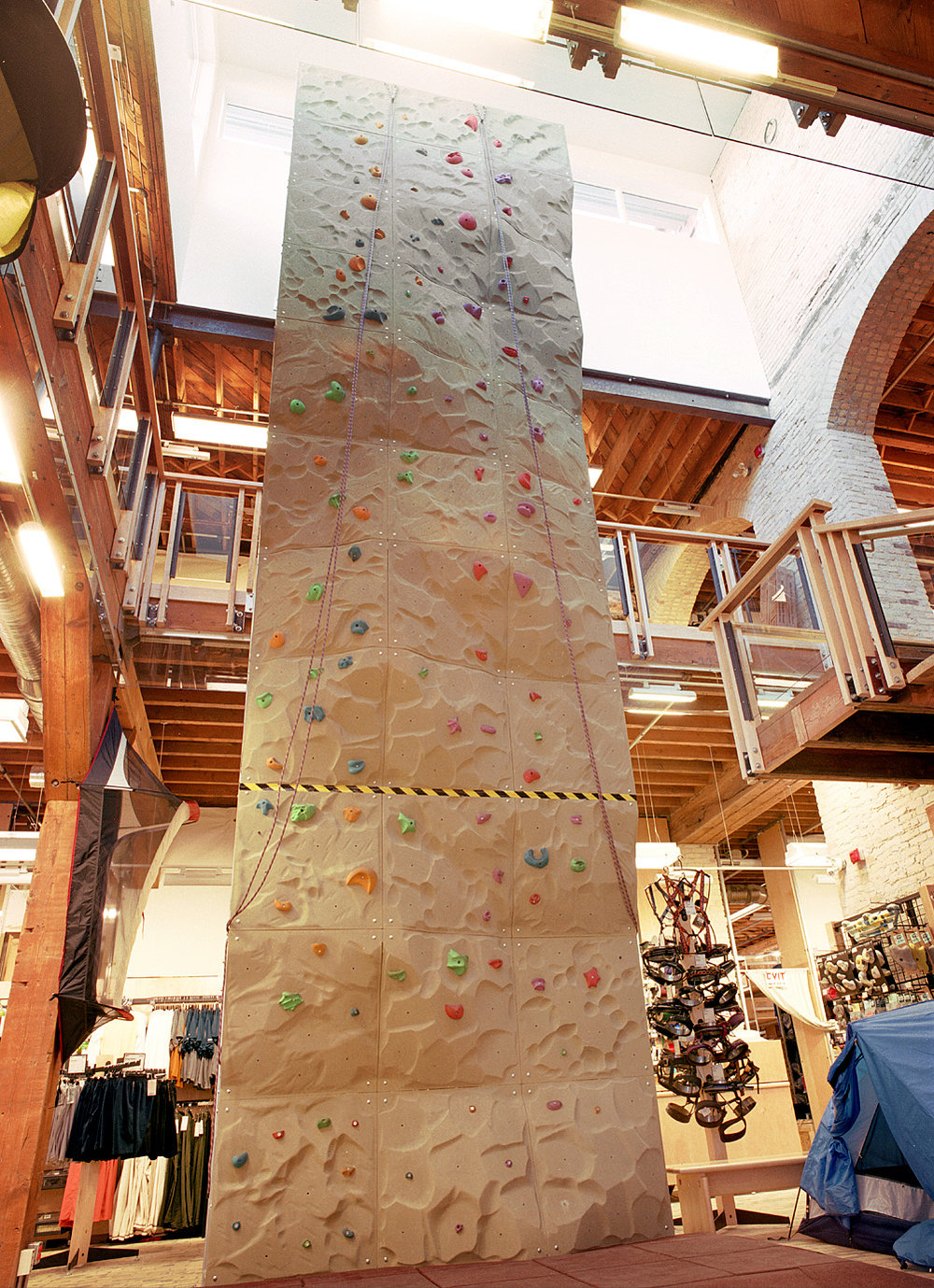 Mountain Equipment Co-op Winnipeg, interior photo of climbing wall / Photo: Gerry Kopelow