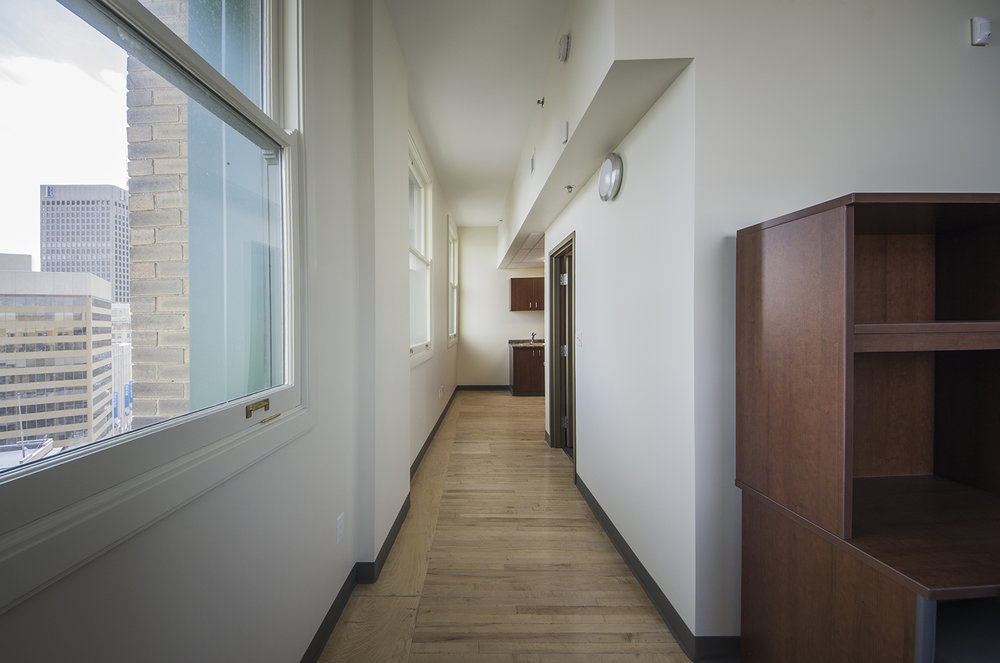 Red River College Culinary Arts & Student Housing, interior photo of residence hallway / Photo: Bryan Scott