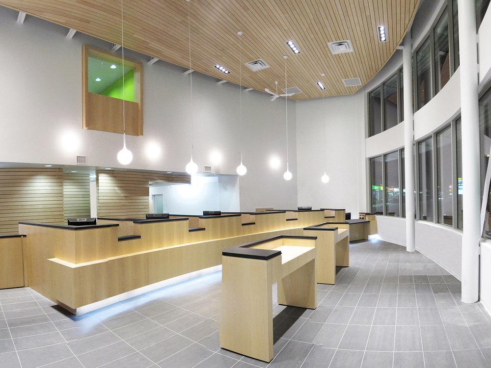 Crosstown Civic Credit Union, interior photo of banking hall