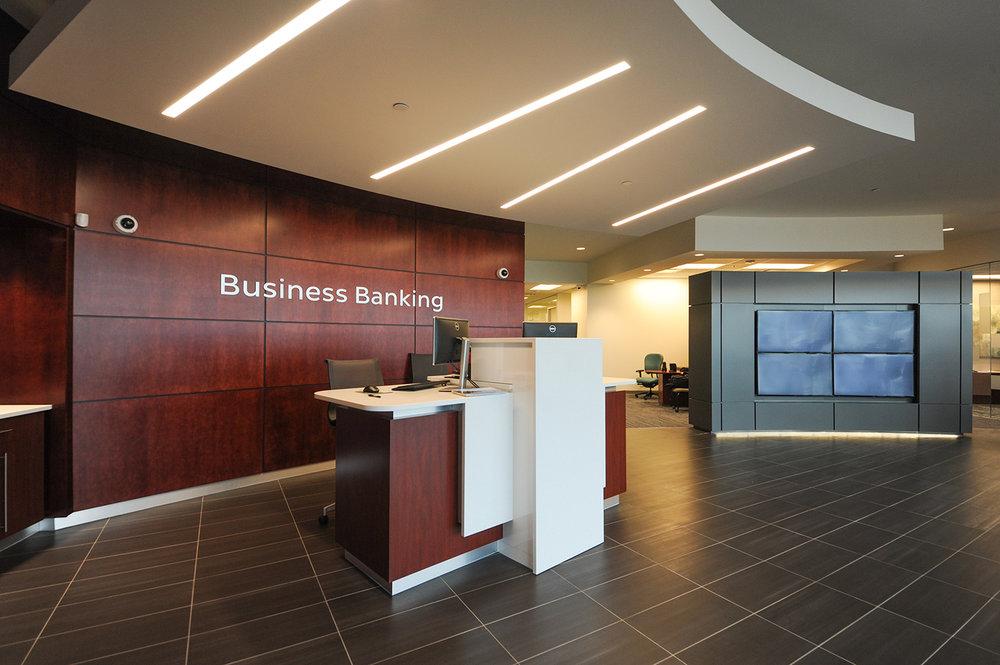 Entegra Credit Union, interior photo of reception / Photo: Joel Ross